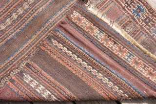 baluch kelim half 82x336cm, knotted stripes and knotted border