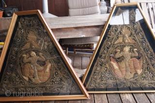 2 framed antik burmese textiles,w 110cm, h 90cm