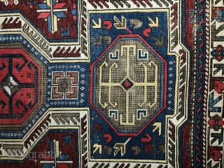 Beautiful unique Shirvan, second half of 19th century, 160 x 114 cm, pile intact, but the back wool completely etched away.