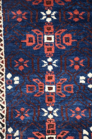 """Baluch Rug, Northeast Persia, size 37"""" x 62"""" (93 x 157 cm), classic Baluch design, very good condition with slight oxidation to the black in the upper border, otherwise full, lustrous pile,  ..."""