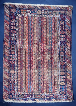 "This small Qashqa'i rug, 37.5 x 55"" (+/-) presents a classic Southwest Persian design composition, near flawless execution of that design, vibrant, varied and deeply saturated natural dyes and considerable age. It  ..."