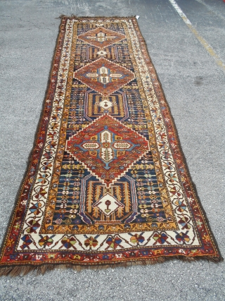 "Bakhtiyari Rug, Village of Ghafarrukn, Chahar Province, 42"" x 132"" (106 x 335 cm), excellent condition, full pile, strong clear colors, foundation consists of a mix of sheep's wool and camel/goat hair,  ..."