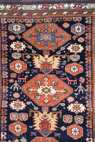 "Kurdish rug, 51.5"" x 80"", late 19th century, brilliant, natural dyes, deeply saturated, near perfect condition with soft lustrous wool, professionally washed."