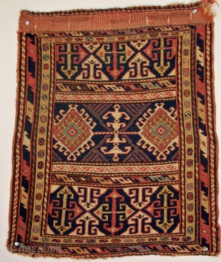 "Shahsavan bag face, Qarabagh Province, Central Transcaucasia, size 21"" x 27"" (53 x 69 cm), circa 1875, the design elements are clearly Shahsavan, the attribution is tentative, the field is divided into  ..."