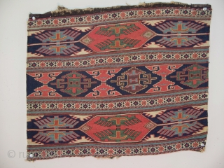 "Shahsavan mafrash panel, Khamseh region, northwest Persia, 22"" x 18"" (55 x 45 cm). In this example one sees the artistry of a skilled and experienced weaver; one with seemingly a clear  ..."