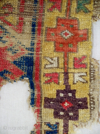 "Central Anatolian Rug, Konya-Cappadocia region, 44"" x 58"", 111 x 147 cm, the border design is described as being 'quite rare', a comparable, although smaller, example of this border was in the  ..."
