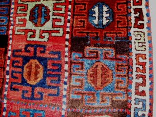"""Kurdish Rug (#317), East Anatolia, size 40"""" x 139"""" (101 cm x 353 cm), circa 1800, brilliant deeply saturated colors and the frequently encountered 'Kurdish Bend"""" in the foundation, there are excellent  ..."""