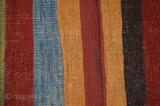 "Anatolian kilim (plain weave), (37"" x 118""), (93.9 x 299.7 cm), circa 1850, excellent condition with all natural dyes, an attribution to west Turkey in the Cal region is based on the  ..."