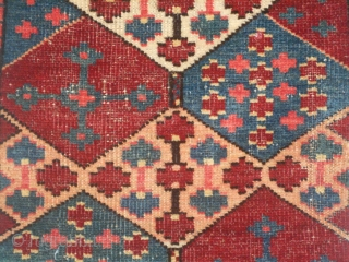 """Kungrad Chavadan Face, Kyrgyz, Southern Tajikistan, size 18"""" x 35"""", circa early 20th century, condition is quite good with some small areas of wear, dyes are probably synthetic but they are clear  ..."""