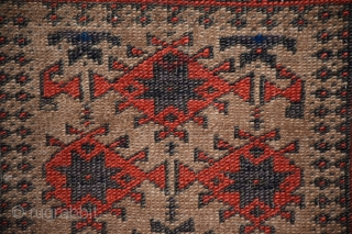 """An unusual Baluch rug, size 34"""" x 58"""", among 'Baluch' design groups those with multiple borders are less commonly encountered, even within that group this is an extremely unusual example, the weave  ..."""