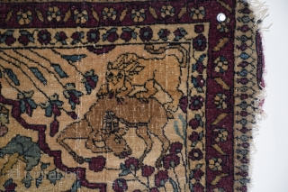 "Tehran Prayer Mat, circa 1880, size 26"" x 30' (+/-):  This comparatively rare example displays the characteristic violet shade of red identified with these weavings. The warps consist of very delicate  ..."