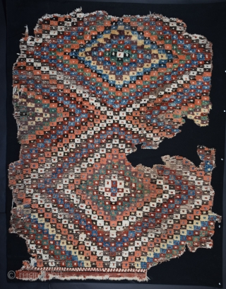 "Anatolian pile rug fragment, Eskisehir-Afyon region (tentative), 53"" x 68"", professionally washed and mounted."