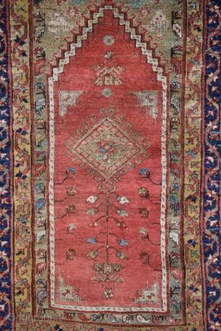 "Kirsehir prayer rug, Central Anatolia, circa 1880, 46"" x 66"" (117 x 185 cm), this example is among the best of a rather small group of rugs attributed to the Kirsehir-Mudjar region,  ..."