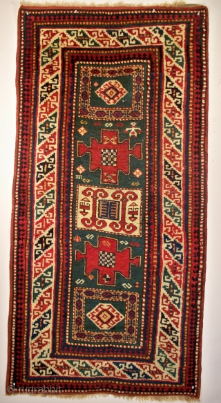 "Unusual size Kazak, 34"" x 70"", deeply saturated, all natural dyes, excellent condition, full pile, no wear or damage, additional pictures and information at www.herat.com (#35O)."