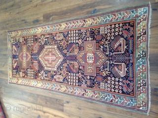Akstafa Shirvan rug. 19th century, Unusually design Size 4'6x9'4 (140x287cm)