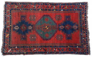 """Antique Caucasian Kazak Rug 4'7"""" x 7'2"""" A stunning early 1900s Caucasian Kazak pile rug with its incredibly strong saturated harmonious colors in strong bold geometric designs. Excellent"""
