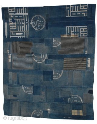Antique Indigo Patched Boro Cloth  An exceptional indigo patched Boro textile cloth from old Japan, when many poor farming families recycled generations of worn out indigo cloth into patchworks of great soulful  ...