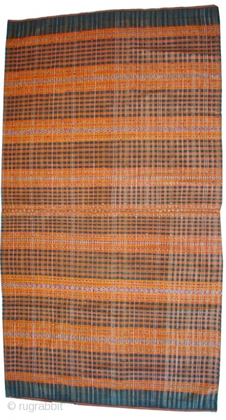 """19c Sumatra Tapis Sarong Tube with metallic thread and mica, all natural vegetable dyes.  49"""" x 27""""  Tapis are elaborate skirts made in Lampung province, Sumatra, Indonesia. Tapis were high-status ceremonial textiles  ..."""