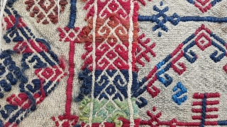 Size: 66 x 97 (cm), Middle anatolia (konya), Over 120 years old ,  Elbiselik  Natural dyes .