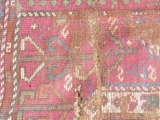 size: 105 x 118 (cm)  19th Century rus (kazak) fragment. ... an array of very nice organic colors. fragment