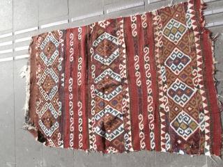 size : 90 x 135 (cm)  19th century eastern Anatolia (Erzurum) kilim fragment (madder)