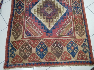Size :130 x 335 (cm)   19th Century Anatolian Cappadocia Rug It Has Great,There are several old restorations on the carpet