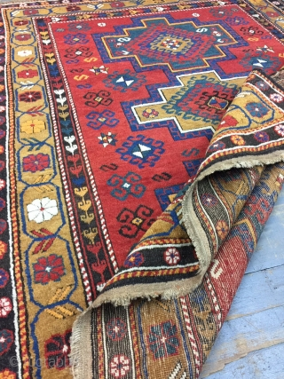 Antique Handmade  caucasian Shirvan Rug,some synthetic dyesl,low pile,Attractive Design,Around 100 years Old,Size:6 by 4.6 Ft