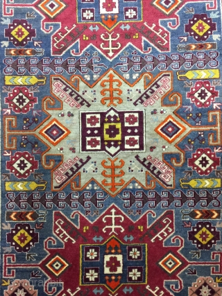Antique Used Handmade Caucasian Yerevan Kazak Style,Old, Wool&Cotton,Size:6.6 By 4.5 Ft,All in natural,Very Soft  condition, Beautiful colours,Around 80 years Old,