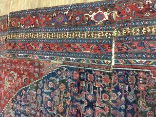 Antique bijar rug,around 90 years old,cutoff,size:530cm by 327cm