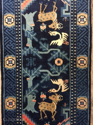 Antique Handmade Chines Wall Hanging Rug,Attractive design,All in natural,Good pile,Around 80 Years Old Size:115cm by 59cm