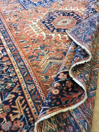 Antique Handmade Persian Karaja Rug,all in natural,some old repairs,Low pile,ca:1920,size:6.3 ft by 4.9 ft,190 cm by 144 cm