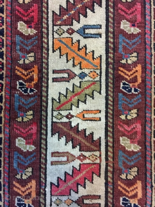 Antique Handmade Shirvan Kazak Wool Rug,ca:1920,all in natural,good pile.Soft,Attractive Design,Size:5.9 ft by 4.4 ft,174 cm by 131 cm
