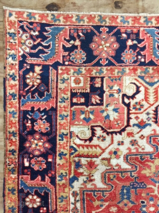 Antique Handmade Persian Heriz Rug,Ca:1920,All in natural,good pile,Soft,Clean,Size:9.5ft by 7.3ft-287 cm by 220 cm