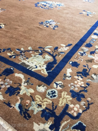 Antique Handmade Chinese Art Deco Rug, Attractive Design,All in natural,Low pile,Clean,Around 80 Years Old  Size:260cm by 186cm