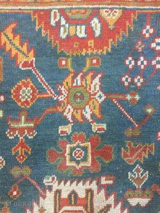 Antique handmade Turkish Oushak Rug,all in natural,low pile,Some professional Old repairs,Clean,soft,more than 100 years old,Size:252cm by 194cm