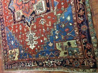 Antique,Old,Used,persian,Handmade,Heriz,wool,rug,Attractive Design,Low pile,Clean,Soft,Size:315 Cm by 240 Cm,Size:10.3 ft by 7.8 ft,Ca:1920