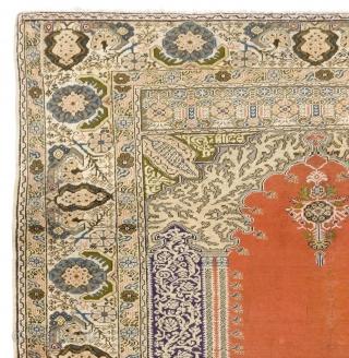 Turkish Prayer Rug, 4.9 x 6.8 Ft (144x201 cm).     Here is a high resolution image of it: https://drive.google.com/file/d/0Bz7Alnbetq5ubk1ndUw5bHJyaGc/view?usp=sharing  more antique rugs in stock: https://drive.google.com/file/d/0Bz7Alnbetq5ubk1ndUw5bHJyaGc/view?usp=sharing