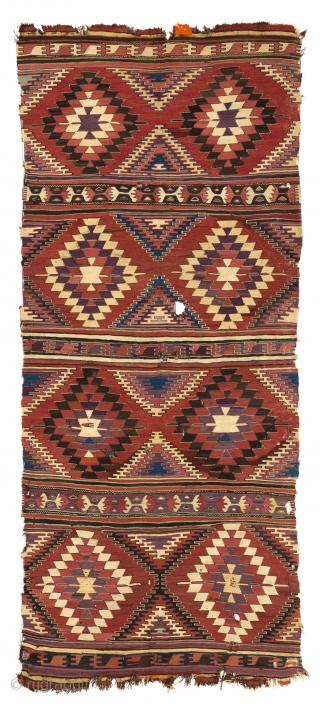 Antique Central Anatolian Konya Kilim, 160x380 cm (5.3 x 11.7 ft), ca 1800. No 3827