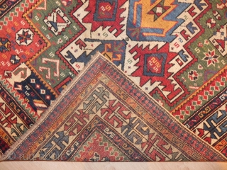 Caucasian Shirvan Prayer Rug, wonderful design and attractive colors, mid 19th century, good condition with minor restoration, before/after images available if requested, 65x53 inches.