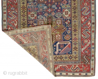 Antique Caucasian Shirvan Akstafa Rug,  4.8 x 10.4 ft (141x313 cm), ca late 19th Century.