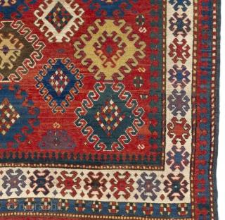 Antique Caucasian Kazak Rug, 143x200 cm, ca 1870.