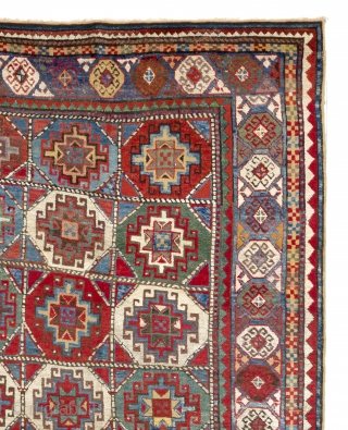 """Antique Caucasian Moghan Kazak Rug with great colors and meaty pile. 143x255 cm (4'8"""" x 8'4"""")"""
