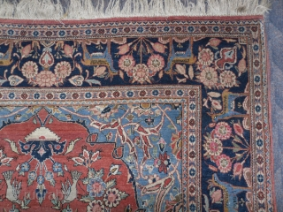 Fine Kashan Prayer Rug, aprox 7x4.5 ft, Excellent Condition, good even pile, no repairs or issues, ca 1910. www.rugspecialist.com