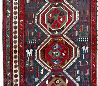 "Antique Caucasian Moghan Shahsavan Rug, 4'10"" x 10'8"" - 147x326 cm, Very good condition, full pile."