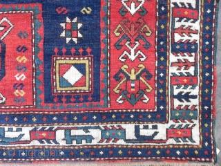 Antique Caucasian Fachralo Kazak prayer Rug, 6.4x5.2 ft, late 19th century, good condition.