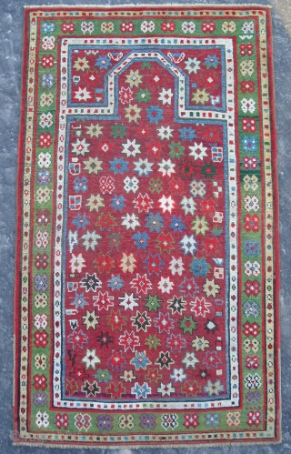 Caucasian Karabagh Prayer Rug, 4.9x2.5 ft (150x80 cm). late 19th Century.