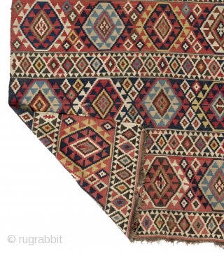 "Fine Antique Shirvan Kilim, NE Caucasus, 19th Century. 5'2"" x 10' - 156x303 cm"