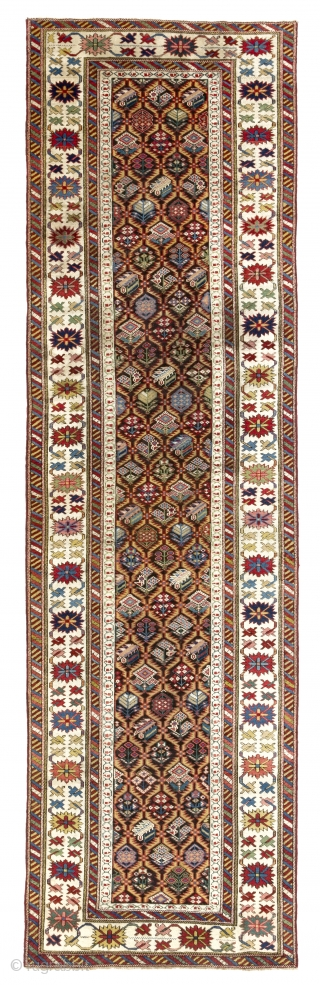 An Antique Kuba Runner, Northeast Caucasus, ca 1860.  34x117 inches - 86x297 cm