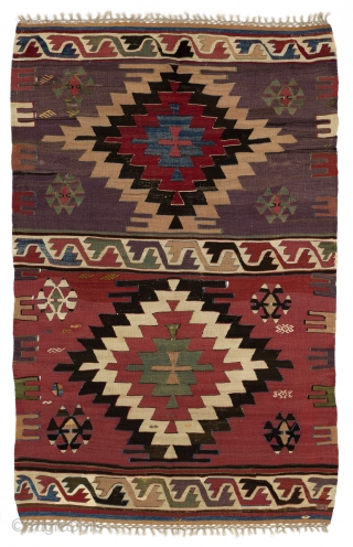 "Antique Karapinar Kilim, Central Anatolia.  5'2"" x 8'2"" - 157x250 cm"