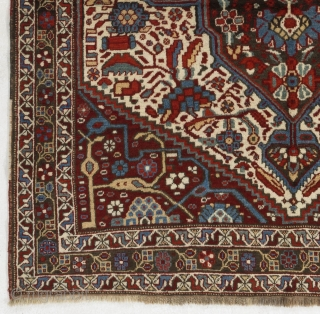 "Antique Tribal Khamseh Rug from Southern Persia, ca 1900.   5'3"" x 9'4"" - 160x191 cm.  Very good condition, even medium pile.  no 4634"